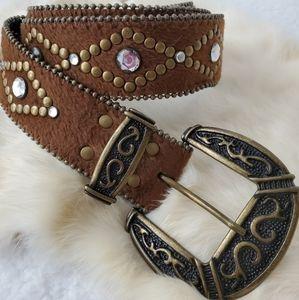 Brown Studded Western  Belt
